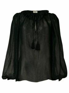 Saint Laurent lurex ruffle trim blouse - Black