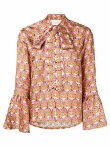 La Doublej geometric pussy bow blouse - PINK