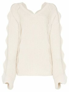 Stella McCartney scallop sleeved oversized knitted jumper - White