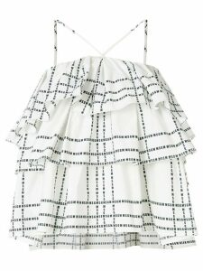 MSGM logo stripe plaid halter top - White