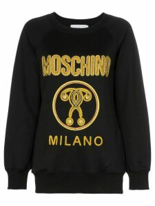 Moschino gold embroidered logo jumper - Black