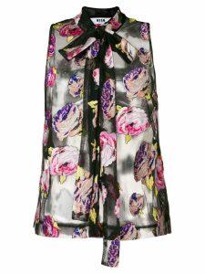 MSGM jacquard floral blouse - Black