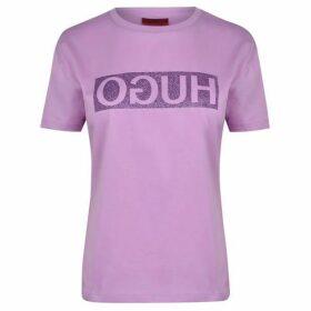 Hugo Glitter Print Reversed Logo T Shirt