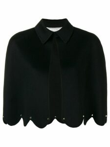 Valentino scalloped hem cropped poncho - Black