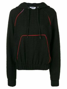 MSGM logo appliquéd bouclé hoodie - Black