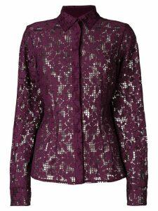Talbot Runhof floral mesh shirt - PINK