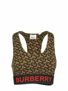 Burberry Monogram Print Stretch Jersey Cropped Top