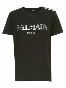 Balmain T-shirt S/s 3 Buttons On Shoulder Metallic Vintage Logo