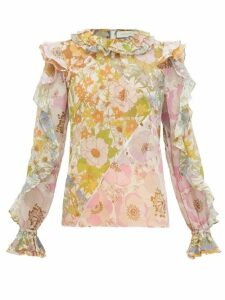 Zimmermann - Super Eight Ruffle-sleeve Floral Chiffon Top - Womens - Pink Print