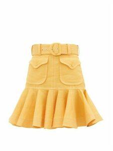 Zimmermann - Topstitched Flounced-hem Linen-poplin Skirt - Womens - Orange