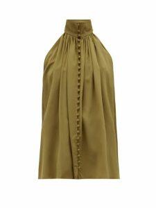 Zimmermann - Super Eight High-neck Silk Top - Womens - Khaki