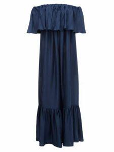 Kalita - La Fontelina Off-the-shoulder Ruffled Silk Dress - Womens - Navy