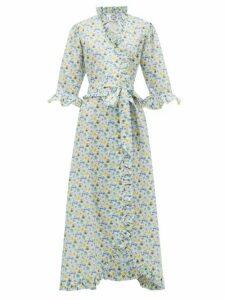 Evi Grintela - Violet Ruffle-trimmed Floral-print Cotton Dress - Womens - White Print