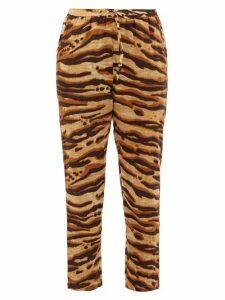 Mes Demoiselles - Fatal Zebra-print Drawcord Cotton Trousers - Womens - Brown Print