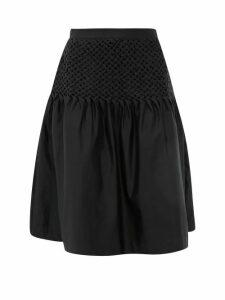 Merlette - Hellebore Smocked Cotton-blend Satin Skirt - Womens - Black