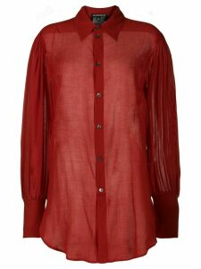 Ann Demeulemeester oversized sheer shirt - Red