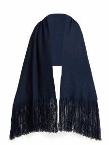 Denis Colomb - Fringed Cashmere Shawl - Womens - Dark Blue