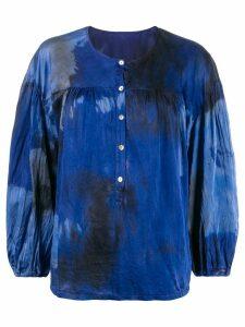 Raquel Allegra Poet printed crinkled blouse - Blue
