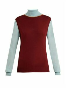Roksanda - Elsta Wool Roll-neck Sweater - Womens - Burgundy Multi