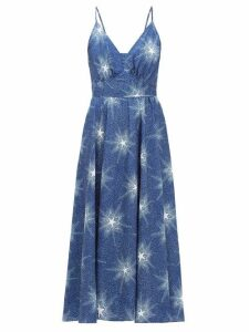 Paco Rabanne - Crystal-button Star-print Crepe Dress - Womens - Blue