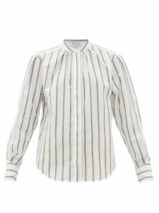 Officine Générale - Paloma Band-collar Striped Cotton Shirt - Womens - White Black