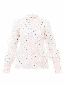 Erdem - Fayola Polka Dot-flocked Silk-blend Organza Blouse - Womens - Light Pink