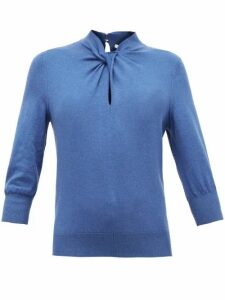 Erdem - Rumer Twisted-neckline Cashmere-blend Sweater - Womens - Blue