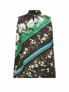 Erdem - Koren Daffodil Ditsy-print Floral-jacquard Blouse - Womens - Black Green