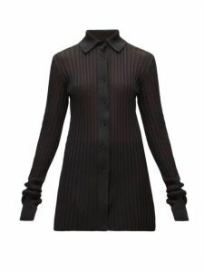 Bottega Veneta - Longline Ribbed-knit Cardigan - Womens - Black