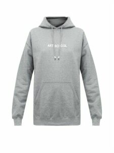 Art School - Logo-print Hooded Cotton Sweatshirt - Womens - Grey