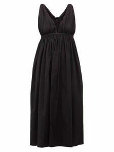Rochas - Twist-strap Cotton-blend Midi Dress - Womens - Black