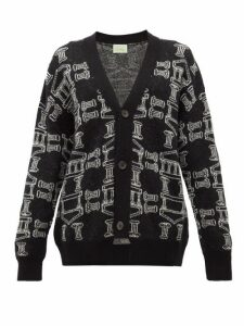 Aries - Temple-jacquard Cardigan - Womens - Black White