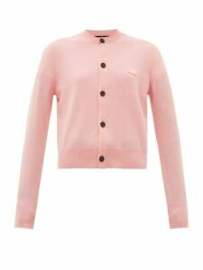 Acne Studios - Keva Face Knitted Wool Cardigan - Womens - Light Pink