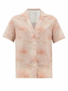 Officine Générale - Christelle Palm-print Cotton Shirt - Womens - Light Pink