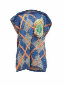 Matty Bovan - Asymmetric Metallic Deadstock-knit Sweater - Womens - Blue Multi