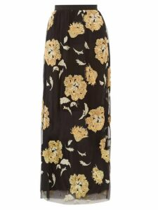 Osman - Eva Floral-embroidered Tulle Maxi Skirt - Womens - Black Gold