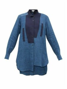 Loewe - Asymmetric Longline Linen-blend Shirt - Womens - Navy