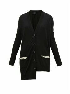 Loewe - Asymmetric Pocket-logo Wool Cardigan - Womens - Black