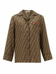 Fendi - Logo-embroidered Ff-print Silk-satin Top - Womens - Brown Multi
