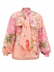 Givenchy - Floral-print Detachable Pussy-bow Silk Blouse - Womens - Pink