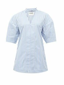 Jil Sander - Candy-striped V-neck Cotton Shirt - Womens - Blue White