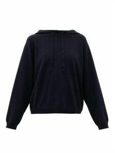 Allude - Raglan-sleeve Virgin Wool-blend Hooded Sweatshirt - Womens - Navy