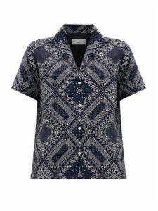 Officine Générale - Christelle Bandana-print Cotton Shirt - Womens - Navy