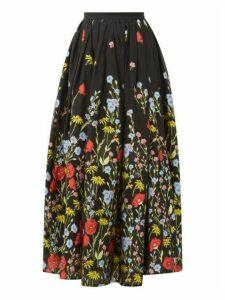 Erdem - Lindie Floral-embroidered Organza Skirt - Womens - Black Multi