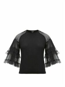 Giambattista Valli - Tulle-sleeve Cashmere-blend Sweater - Womens - Black