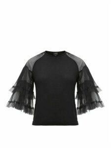 Giambattista Valli - Tulle-sleeve Cashmere-blend Sweater - Womens - Black