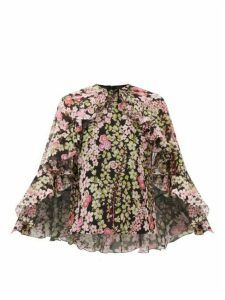 Giambattista Valli - Cape-back Floral-print Silk-chiffon Blouse - Womens - Black Print