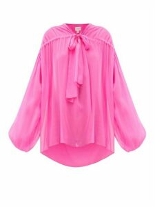 Giambattista Valli - Balloon-sleeve Tie-front Silk-georgette Blouse - Womens - Pink