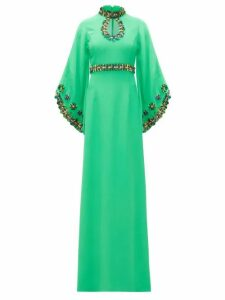 Andrew Gn - Sequinned Fluted-sleeve Crepe Gown - Womens - Green