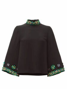 Andrew Gn - Sequin-embellished Flared-sleeve Top - Womens - Black
